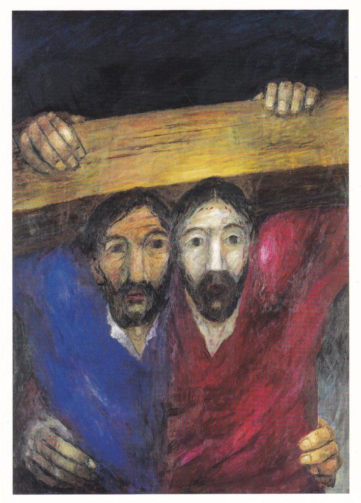 Passion 2020_Station 05_Simon von Cyrene hilft Jesus das Kreuz tragen
